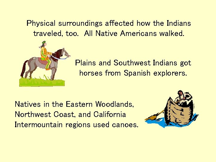 Physical surroundings affected how the Indians traveled, too. All Native Americans walked. Plains and