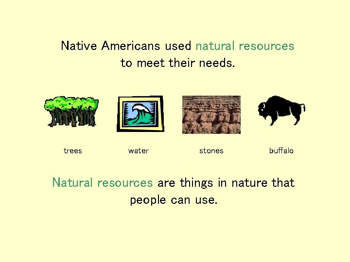 Native Americans used natural resources to meet their needs. trees water stones buffalo Natural
