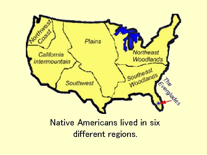 Native Americans lived in six different regions.
