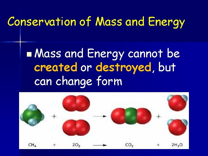 Conservation of Mass and Energy n Mass and Energy cannot be created or destroyed,