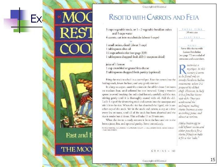 Example algorithm: Recipes 15