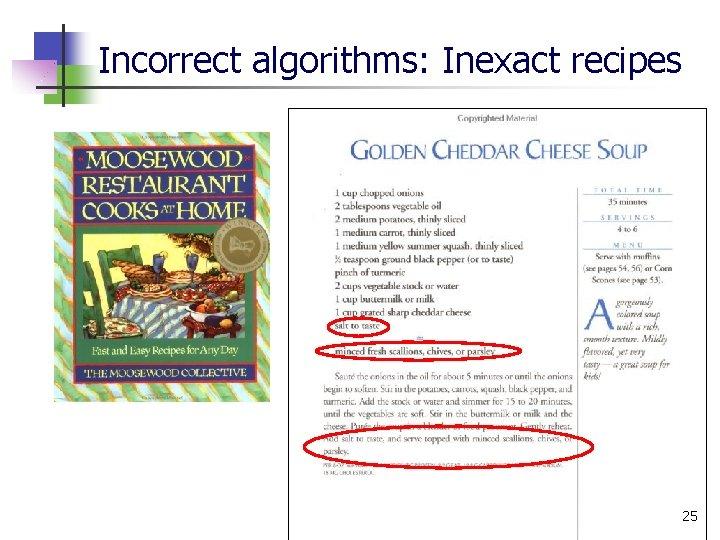 Incorrect algorithms: Inexact recipes 25