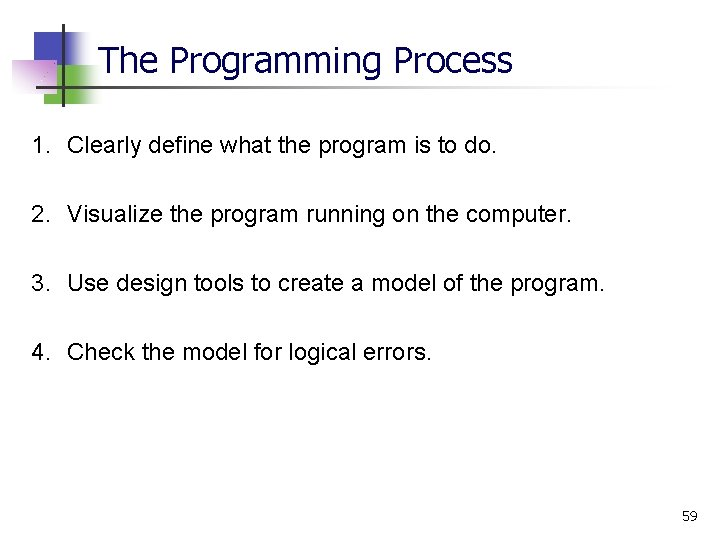 The Programming Process 1. Clearly define what the program is to do. 2. Visualize