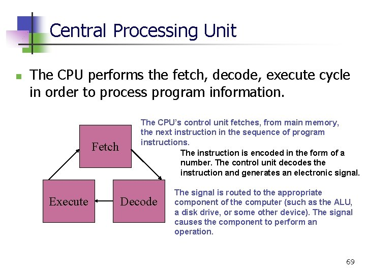Central Processing Unit n The CPU performs the fetch, decode, execute cycle in order