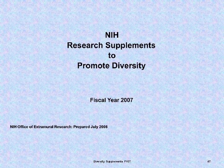 Diversity Supplements FY 07 47