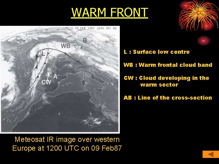 WARM FRONT L : Surface low centre WB : Warm frontal cloud band CW