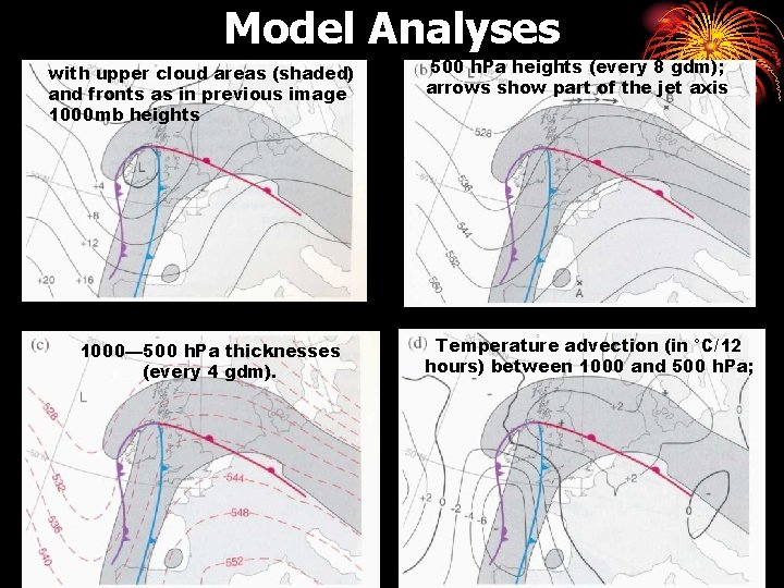 Model Analyses with upper cloud areas (shaded) and fronts as in previous image 1000