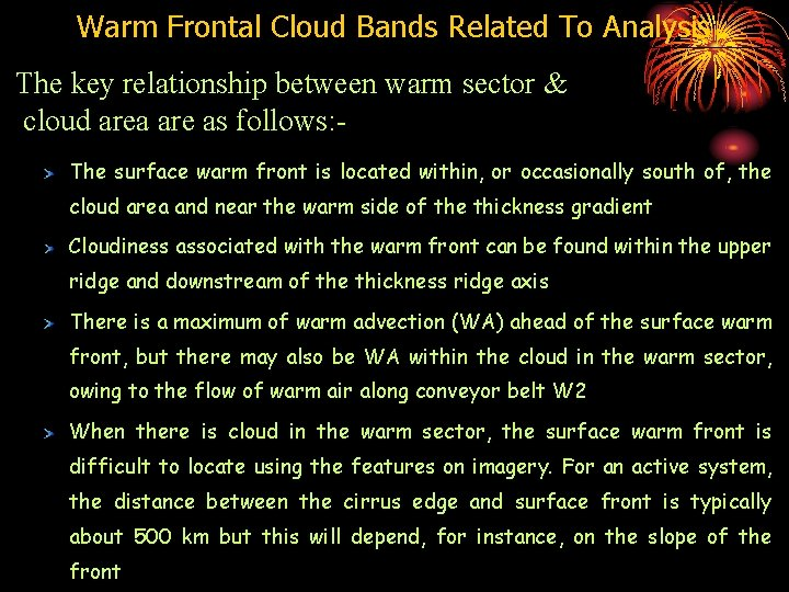 Warm Frontal Cloud Bands Related To Analysis The key relationship between warm sector &