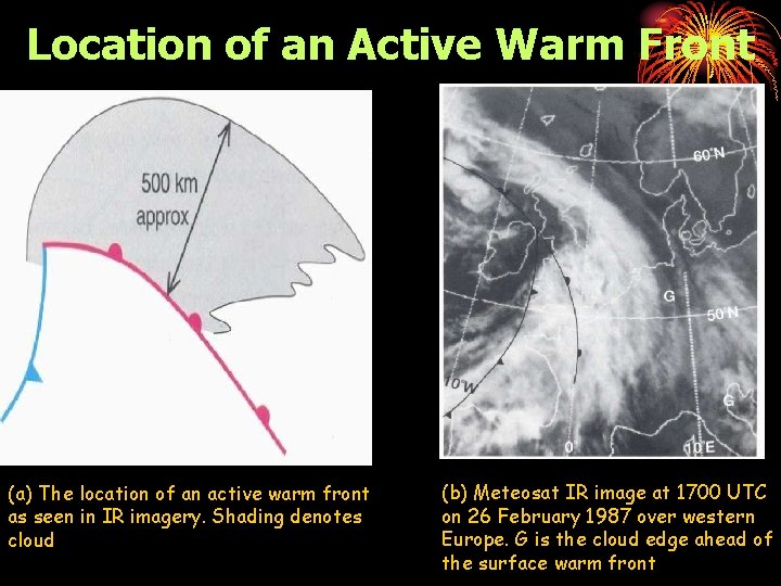 Location of an Active Warm Front (a) The location of an active warm front