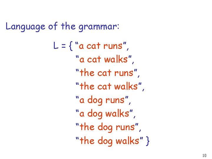 """Language of the grammar: L = { """"a cat runs"""", """"a cat walks"""", """"the"""