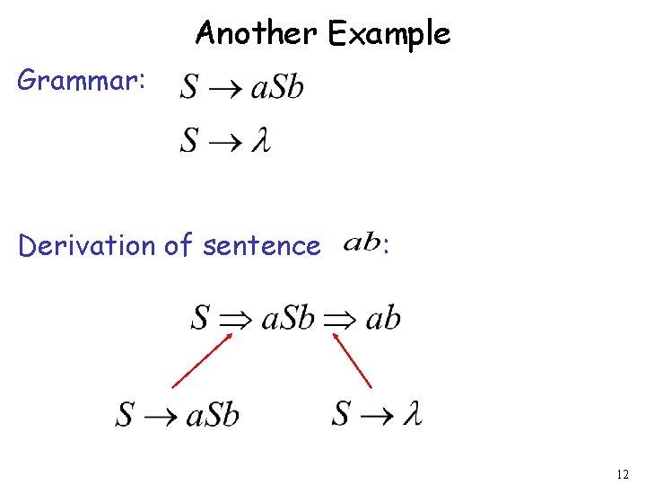 Another Example Grammar: Derivation of sentence : 12