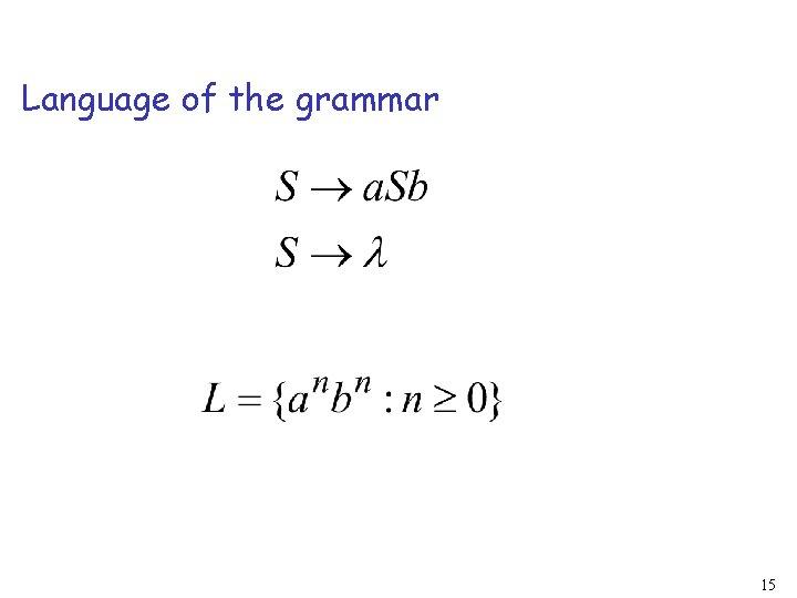 Language of the grammar 15