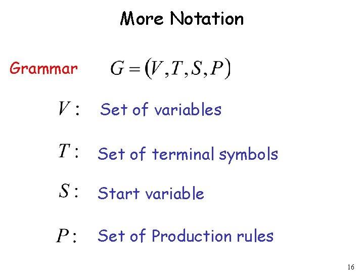 More Notation Grammar Set of variables Set of terminal symbols Start variable Set of
