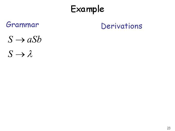 Example Grammar Derivations 23