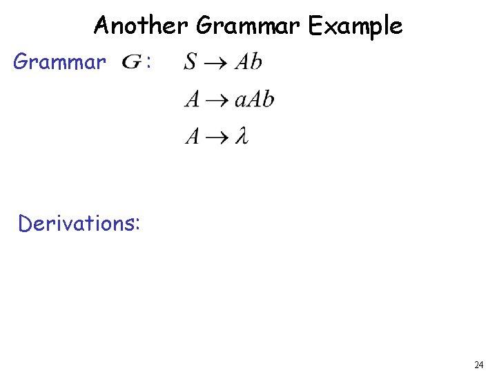 Another Grammar Example Grammar : Derivations: 24