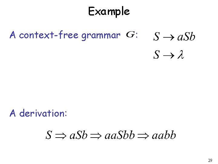 Example A context-free grammar : A derivation: 29