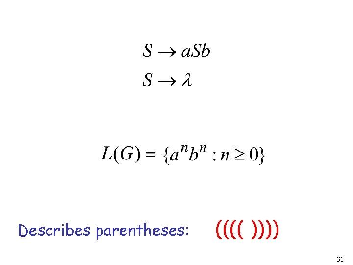 Describes parentheses: (((( )))) 31