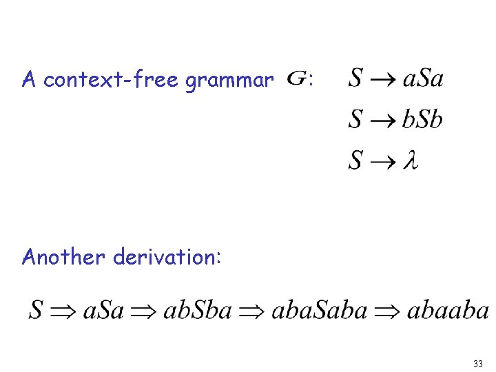 A context-free grammar : Another derivation: 33