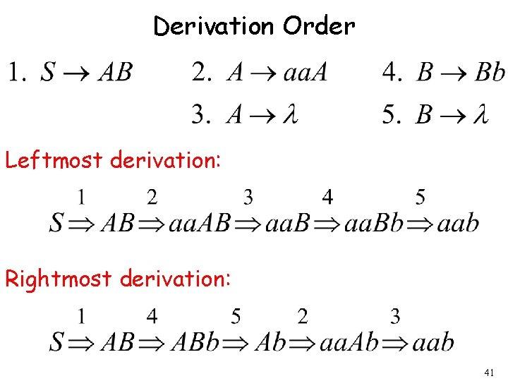 Derivation Order Leftmost derivation: Rightmost derivation: 41