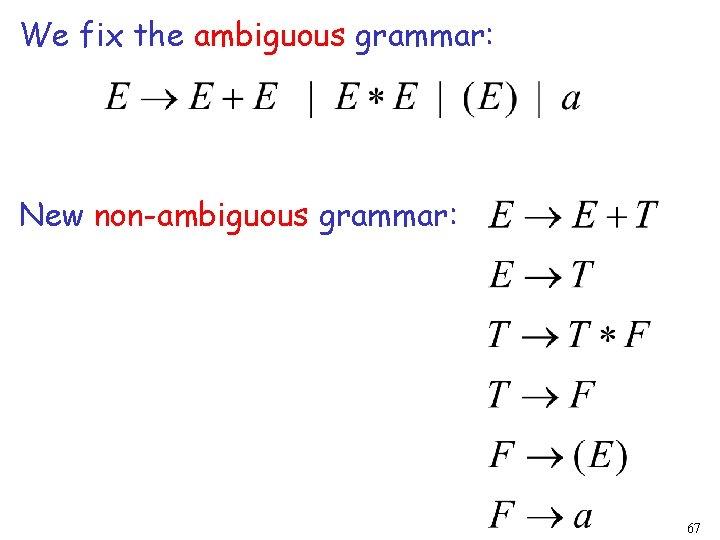 We fix the ambiguous grammar: New non-ambiguous grammar: 67