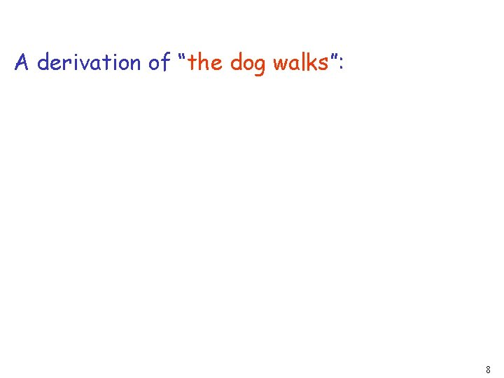 """A derivation of """"the dog walks"""": 8"""