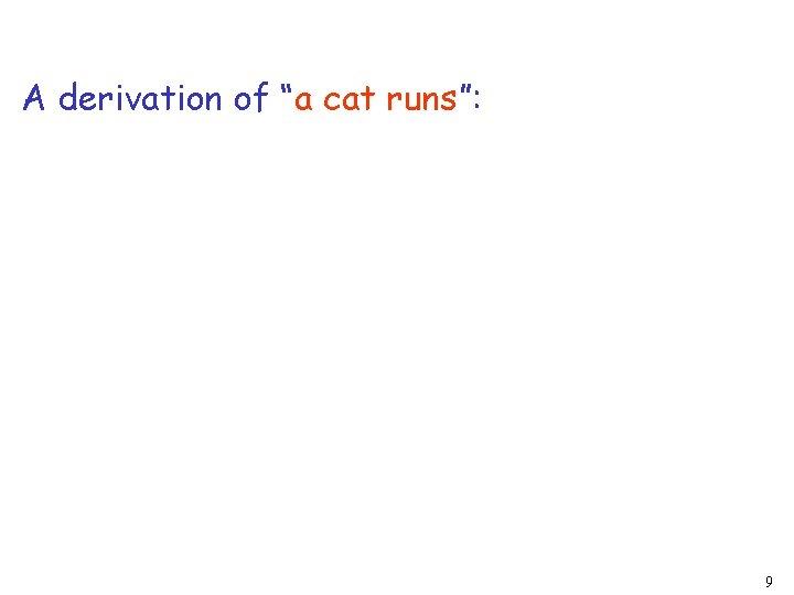 """A derivation of """"a cat runs"""": 9"""