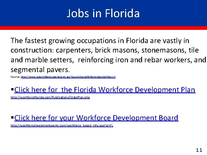 Jobs in Florida The fastest growing occupations in Florida are vastly in construction: carpenters,