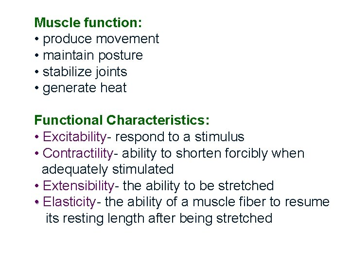 Muscle function: • produce movement • maintain posture • stabilize joints • generate heat