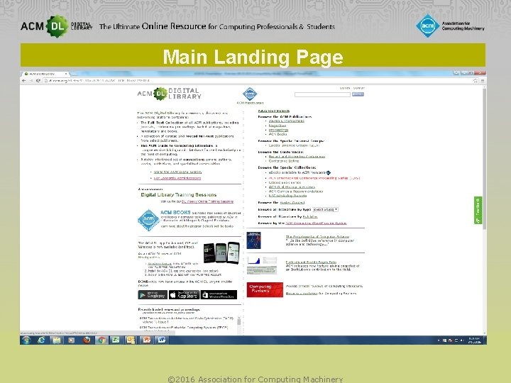 Main Landing Page © 2016 Association for Computing Machinery