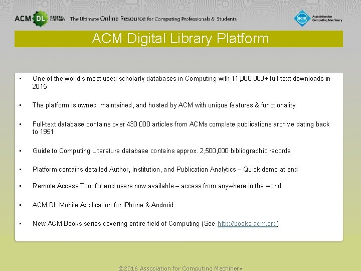 ACM Digital Library Platform • One of the world's most used scholarly databases in