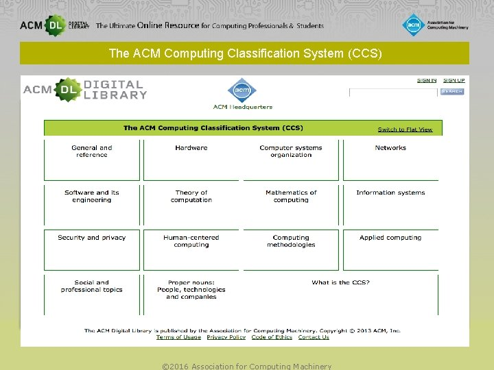 The ACM Computing Classification System (CCS) © 2016 Association for Computing Machinery