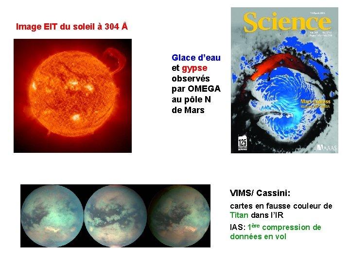 Image EIT du soleil à 304 Å Glace d'eau et gypse observés par OMEGA
