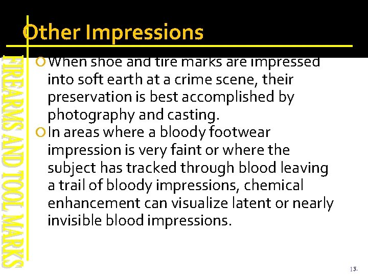 Other Impressions When shoe and tire marks are impressed into soft earth at a