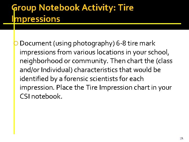 Group Notebook Activity: Tire Impressions Document (using photography) 6 -8 tire mark impressions from