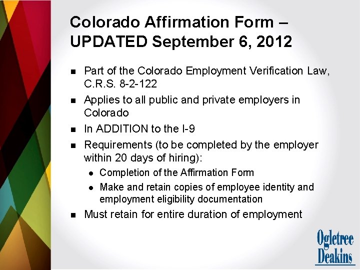 Colorado Affirmation Form – UPDATED September 6, 2012 n n Part of the Colorado