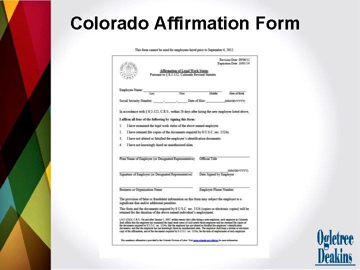 Colorado Affirmation Form
