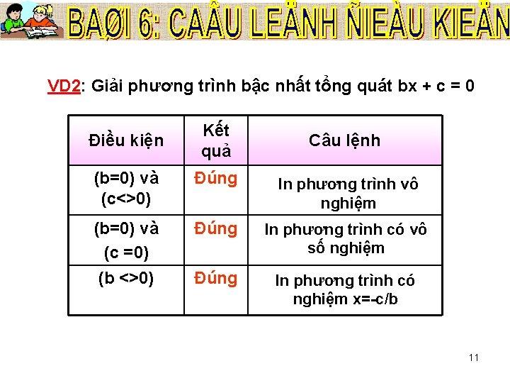 VD 2: Giải phương trình bậc nhất tổng quát bx + c = 0