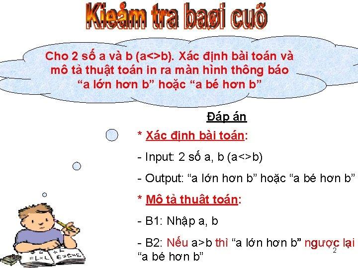 Cho 2 số a và b (a<>b). Xác định bài toán và mô tả