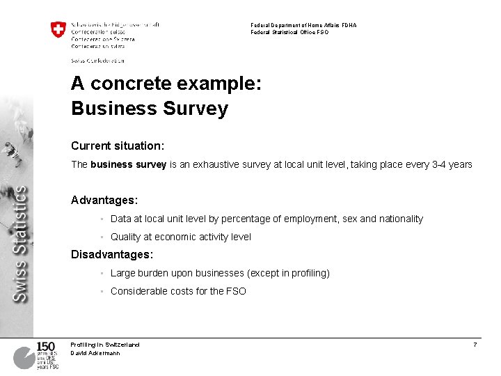 Federal Department of Home Affairs FDHA Federal Statistical Office FSO A concrete example: Business