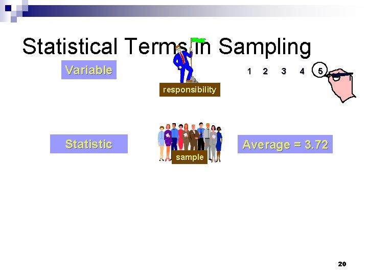 Statistical Terms in Sampling Variable 1 2 3 4 5 responsibility Statistic Average =