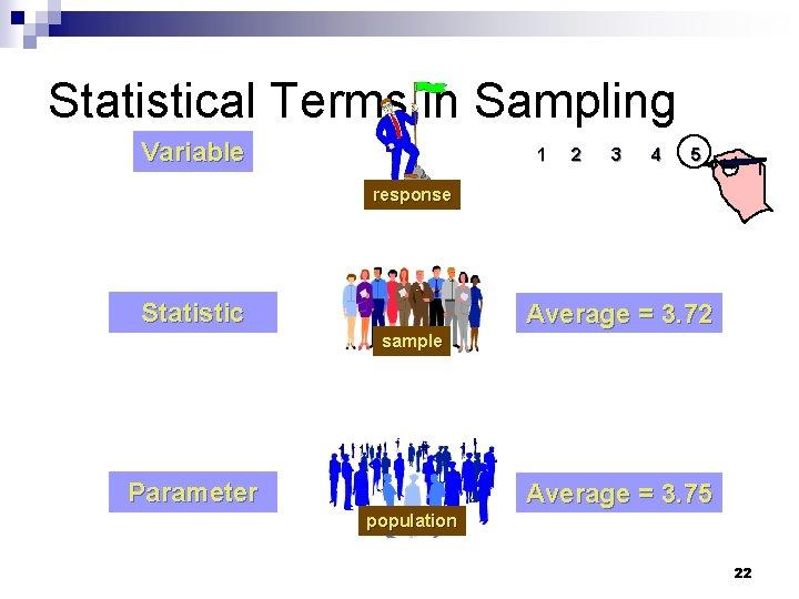 Statistical Terms in Sampling Variable 1 2 3 4 5 response Statistic Average =