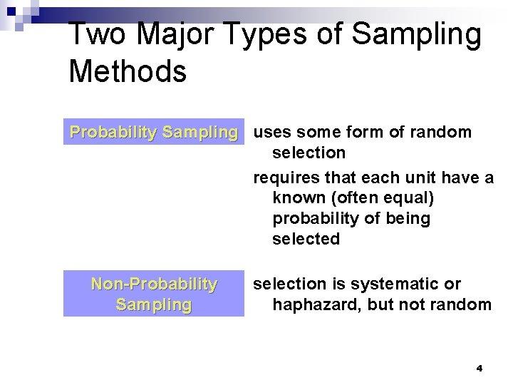 Two Major Types of Sampling Methods Probability Sampling uses some form of random selection