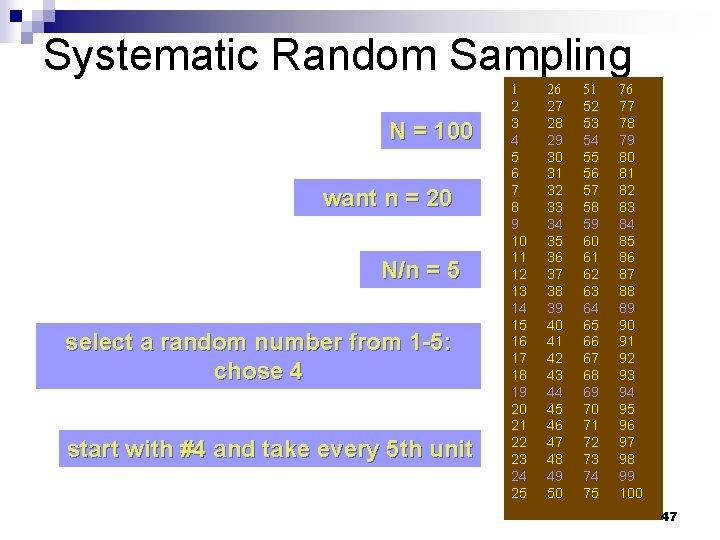 Systematic Random Sampling N = 100 want n = 20 N/n = 5 select