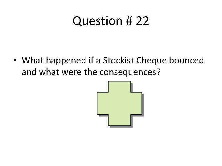 Question # 22 • What happened if a Stockist Cheque bounced and what were