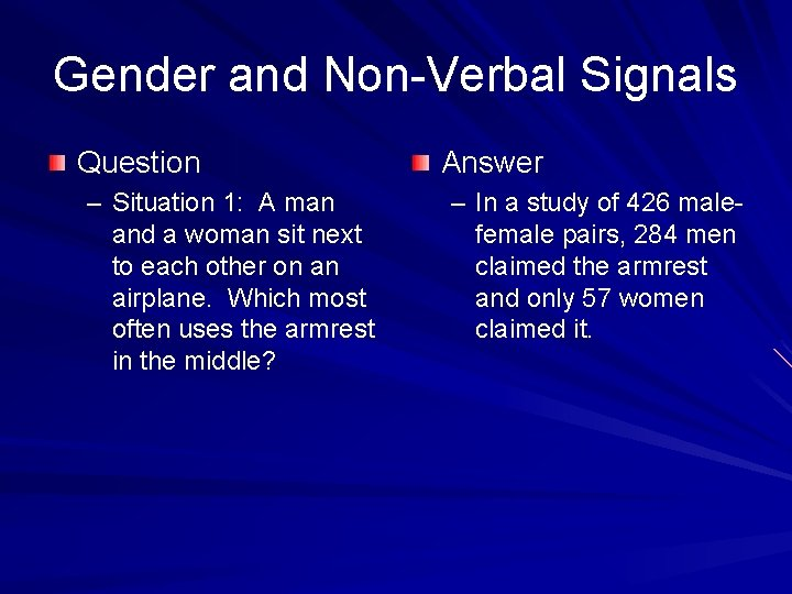 Gender and Non-Verbal Signals Question – Situation 1: A man and a woman sit