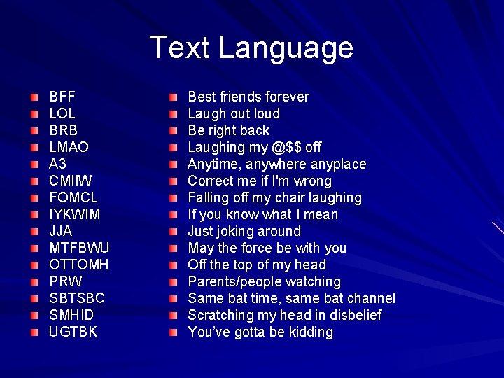 Text Language BFF LOL BRB LMAO A 3 CMIIW FOMCL IYKWIM JJA MTFBWU OTTOMH