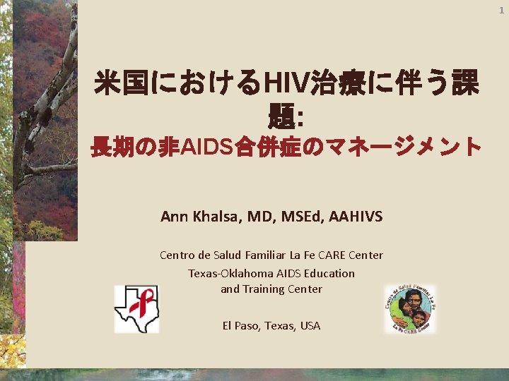 1 米国におけるHIV治療に伴う課 題: 長期の非AIDS合併症のマネージメント Ann Khalsa, MD, MSEd, AAHIVS Centro de Salud Familiar La