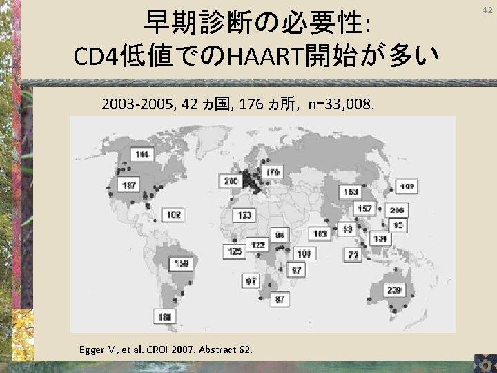 早期診断の必要性: CD 4低値でのHAART開始が多い 2003 -2005, 42 ヵ国, 176 ヵ所, n=33, 008. Egger M, et