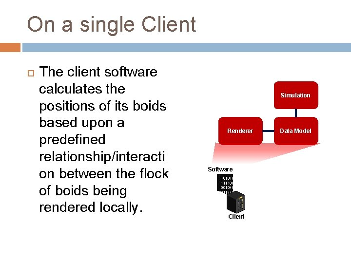 On a single Client The client software calculates the positions of its boids based