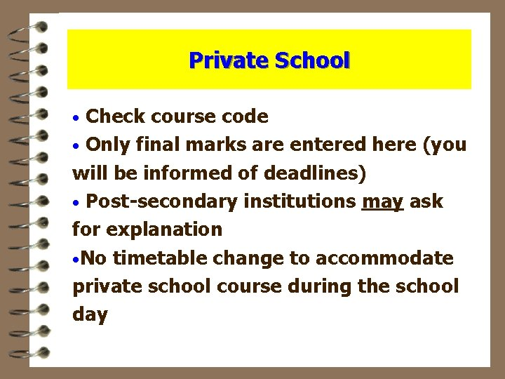 Private School Check course code · Only final marks are entered here (you will